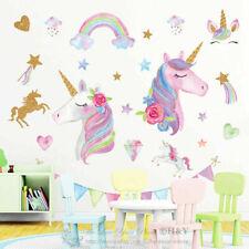 Large Unicorn Rainbow Wall Stickers Nursery Decor Girls Room Vinyl Decal Gift