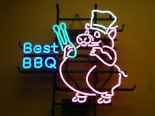 """17""""x14"""" BEST BBQ HANDCRAFT REAL NEON LIGHT BEER BAR PUB SIGN Barbecue Pock"""