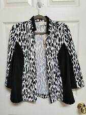 Chico's Chelsea Collection Size 1 NWT Black White Open Front Jacket 3/4 Sleeve