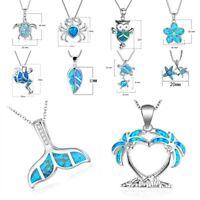 Fashion Ocean Blue Fire Opal 925 Silver Sea Mermaid Whale Tail Pendant Necklace