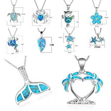 Fashion Ocean Blue Fire Opal 925 Silver Sea Mermaid Whale Tail Pendant Necklace