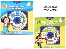 TWO Win 7 School Zone Games CDs Time, Money, Fractions PLUS Vocabulary Age 5-7