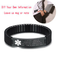 Men Medical Alert ID Name Tag Spring Stretch Bracelet Bangle DIY Free Engraving