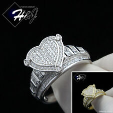 WOMEN 925 STERLING SILVER GOLD/SILVER BLING HEART SHAPE ENGAGEMENT RING*SR88