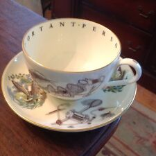 HUGE Men's Royal Worcester Fishing Cup & Saucer Great Gift for Important Guy!!!