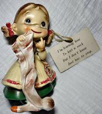 "Wee Folks By Josef Original Figurine Girl Knit A Sock Ceramic Rare Vintage 4.5"""