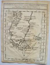 CARTE REDUITE DE LA PARTIE LA PLUS MERIDIONALE DE L'AMERIQUE, BELLIN , 1760