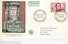 1959**ENVELOPPE,FDC 1°JOUR!!**XAVIER BICHAT-JURA**TIMBRE Y/T 1211