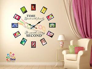 Wall Decal Sticker Tree Removable Family Photo Frames Clock With Quote DC0120