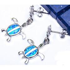 """Blue Australian Opal TURTLE SURFER .925 Sterling Silver Earrings 1"""""""