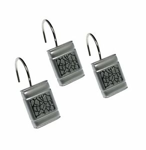Popular Bath Shower Curtain Hooks, Sinatra Collection, Set of 12, Silver