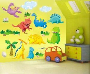 Childrens Kids Girls Boys Bedroom Dinosaurs Wall Stickers Decals Stickarounds