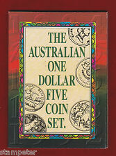 1992 The Australian One Dollar Five Coin Set. Restrike of 1984 1985 1986 1988 92