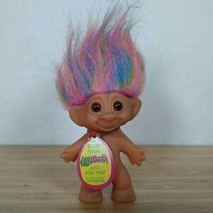 "1991 Small Uneeda Good Luck Wishnik Troll Rainbow Hair - 3"" Tall without Hair"