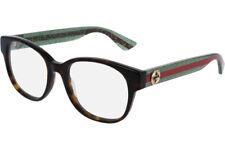 NEW Authentic GUCCI Womens Havana Green Stripe Eye Glasses Frame GG0040O 002 40O