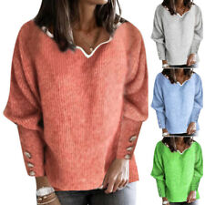 Womens Plain Knit Sweater Jumper Ladies Long Sleeve Casual Pullover Tops Winter