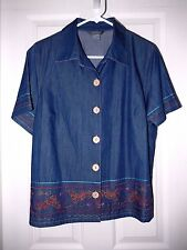 City Blues by KORET Dressy Denim Style Shirt Top--PL  NWT $44