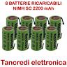 8pz BATTERIA RICARICABILE NI-MH SC 1,2V 2200mAh CON LAMELLE A SALDARE 2000mAh