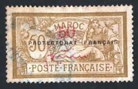 MAROC N°: 50 C oblitéré sans defauts VARIETE (le 0 mince de la surcharge)CV 20 €