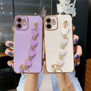 Heart Hand Chain Plating Case Cover for iPhone 11 12 Pro Max 7 8 Plus X S XR 6P