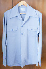 Heyday clothing 1940s style long sleeve sports shirt in blue stripe size 'M'