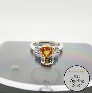 925 Sterling Silver Natural Citrine Round Accented Ring Size 7/N
