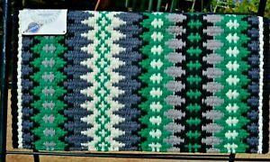 "Mayatex Nova Show Saddle Blanket Pad 38""x 34""- Black/Kelly Green/Grey/Cream"