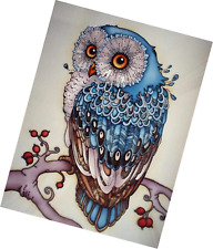 AIRDEA DIY 5D Diamond Painting Kit, Full Owl Embroidery Rhinestone Cross Stitch