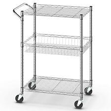 3-Tier Utility Cart Heavy Duty Wire Rolling Cart w/Handle Bar Storage Trolley