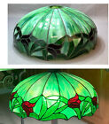 Antique Leaded Slag Stained Arts & Crafts Glass Lamp Shade Green Red Tulip 15