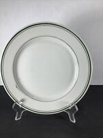"1-vintage Sterling China Restaurant Ware 9"" Dinner Plate w/Double Green Stripes"