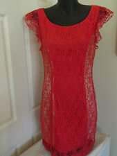 BNWT Ladies Red Cocktail Evening Formal Lace Frill Dress by Ladakh Size 10
