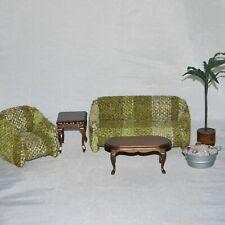 Dollhouse Miniature Furniture Salesman Sample Sofa Chair Tables 1960s Party Lot