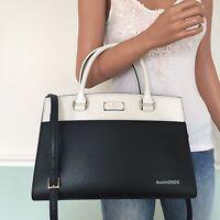 NEW! KATE SPADE Gorgeous Black White Leather Satchel Tote Shoulder Bag Purse