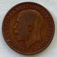 1920 Great Britain Penny Bronze Coin KM# 810 Clashed Dies