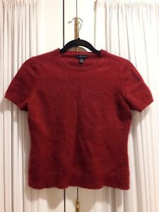 Land's End 100% Cashmere Short Sleeve Top, red wine burgundy