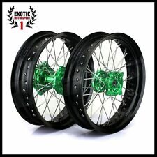 "Wheel Kawasaki KX250F KX450F GREEN Hub Black Rim 17"" 2006/2014 Supermoto"