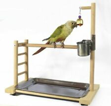 Parrot Bird Wood Stand Activity Center Perch Play Training Toy Rack Portable