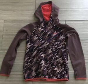 NIKE Purple CAMO FLEECE LOGO HOODIE Sweatshirt sz Girls Y LARGE  W/ THUMB HOLES