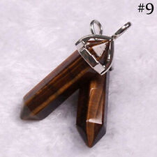 Gemstone Crystal Pillar Pendant Natural Stone Point  Quartz  Healing Necklace