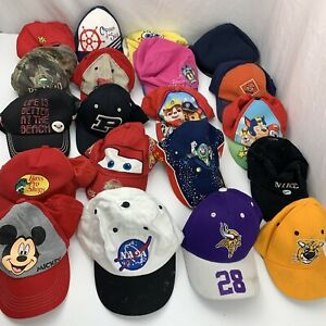 Lot of 20 Ball Caps Baseball Hats Kids Childrens Trucker Cartoons Sports