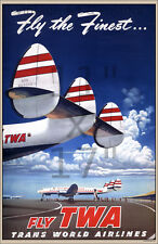Vintage Airline Travel Art Print - TWA Fly the Finest - 11x17 inch