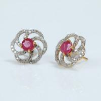 14 K Gold Ohrstecker rote Rubin & Diamant Edelstein Ohrringe aus weiße Diamant