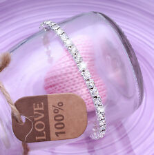 Ladies 1x Row Sparkly Crystal Rhinestone Bracelet Bangle For Women Bride Wedding