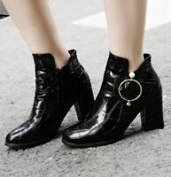 British Women Shiny Patent Leather Block 7cm Heel Roud Toe Zipper Ankle Boots US