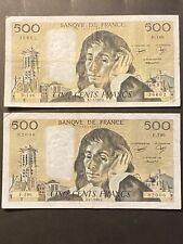 Lot Deux Billet Francais De 500 Francs Pascal