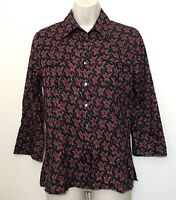 NWT DKNY Size 4 Snap Button Down Shirt Black Red Floral 3/4 Sleeve Cotton Collar