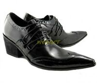Fulinken Size 5-11 Genuine Leather Pointed Toe Oxfords Dress Lace Up Mens Shoes