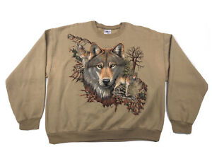 Vtg 3D Emblem Style Wolf Graphic Sweat Shirt Brown Made In USA Size XL Jerzees