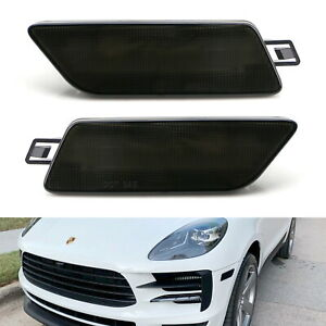 Smoked Lens Bumper Side Marker Light Housing Replacement For 14-21 Porsche Macan